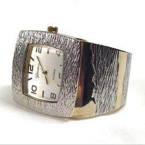 Silver and Gold Fashion Bangle Bracelet Watch
